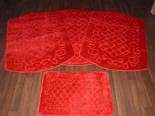 ROMANY WASHABLES NEW FOR 2018 SUPER THICK NICE DESIGN 4PC SET RED NON SLIP MATS